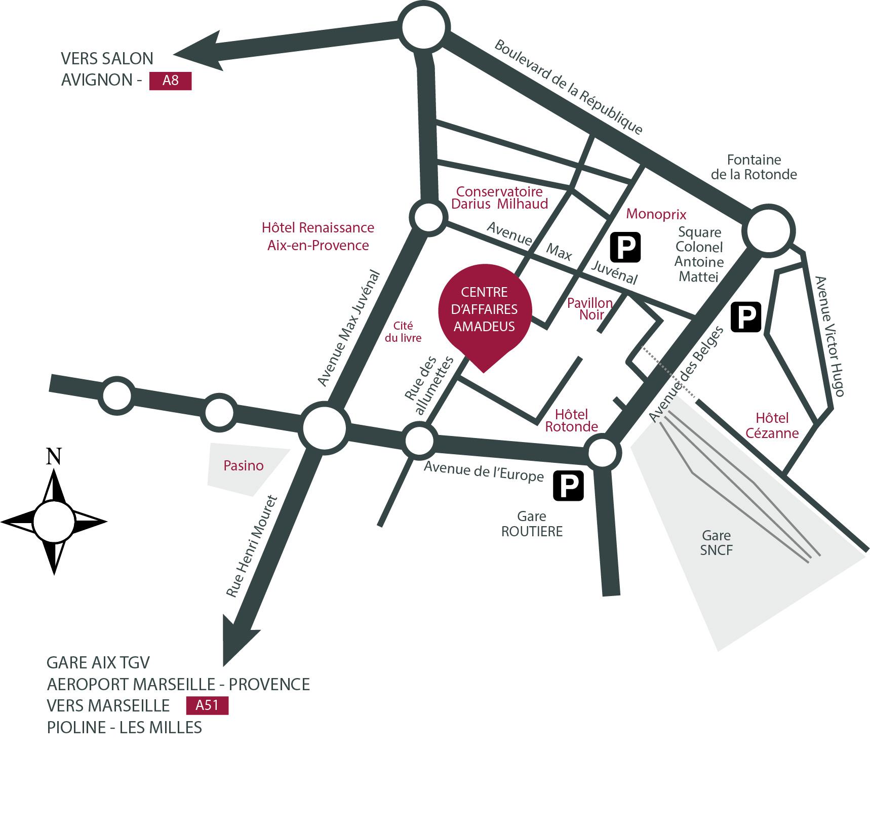plan accès AMADEUS